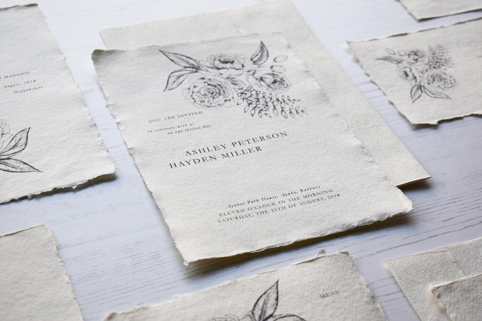 Ethereal Wedding Invitation Suite – Babooche Calligraphy